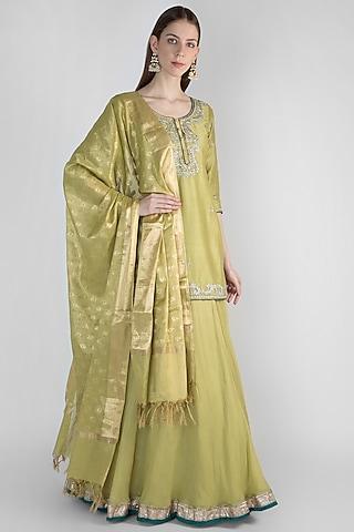 Lime Green Lehenga Set With Banarasi Dupatta by Himani And Anjali Shah