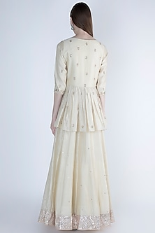 Ivory Embroidered Peplum Anarkali With Dupatta by Himani And Anjali Shah