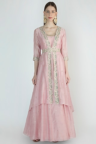 Lilac Embroidered Anarkali With Jacket & Belt by Himani And Anjali Shah