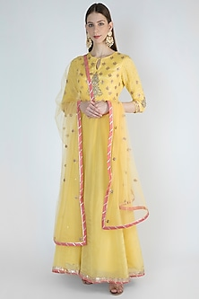 Lime Yellow Embroidered Anarkali With Dupatta by Himani And Anjali Shah