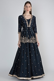 Midnight Blue Embroidered Jacket With Bustier & Skirt by Hash