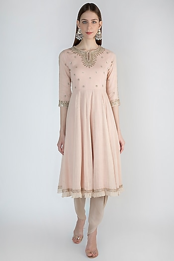 Blush Pink Embroidered Kurta With Dhoti Pants by Himani And Anjali Shah
