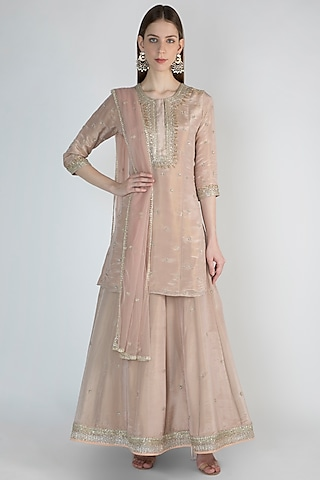 Blush Pink Embroidered Lehenga Set by Himani And Anjali Shah