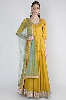 Mustard Yellow Peplum Anarkali With Dupatta by Himani And Anjali Shah