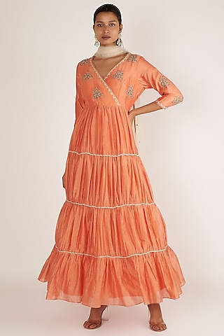 Orange & Coral Embroidered Anarkali With Dupatta by Himani And Anjali Shah