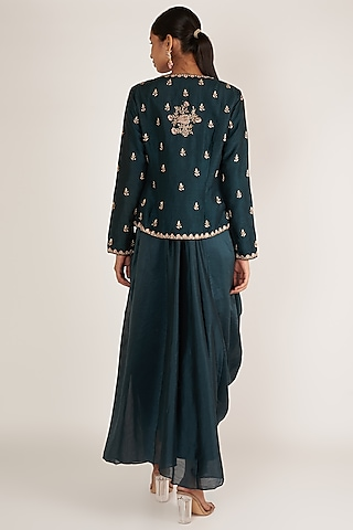 Blue Anarkali With Embroidered Jacket by Himani And Anjali Shah