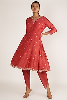 Red Anarkali With Pants by Himani And Anjali Shah