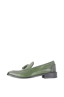 Dark Green Hand Painted Tasseled Loafer Shoes by Harper Woods