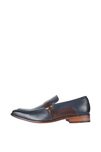 Navy Blue & Chocolate Hand Painted Loafer Shoes by Harper Woods