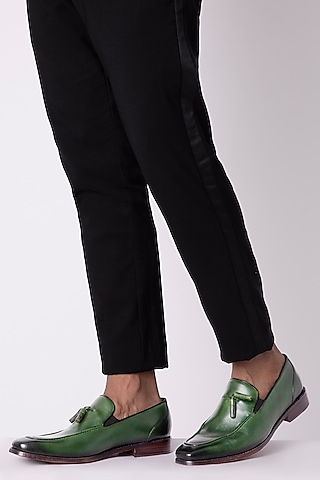 Green Hand Painted Tassel Loafers by Harper Woods
