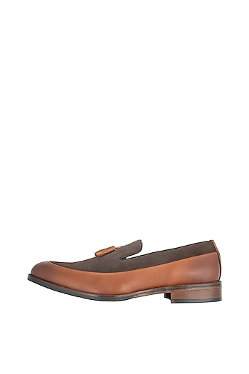 Tan Hand Painted Tassel Loafers by Harper Woods