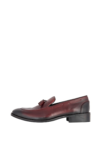 Red Hand Painted Tassel Loafers by Harper Woods