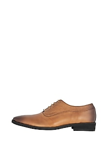 Tan Hand Painted Oxford Shoes by Harper Woods