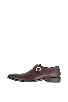 Bordo Brown Hand Painted Monk Shoes by Harper Woods
