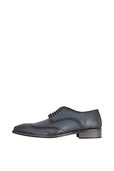 Navy Blue Hand Painted Derby Shoes by Harper Woods