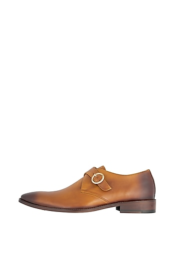 Tan Hand Painted Monk Shoes by Harper Woods