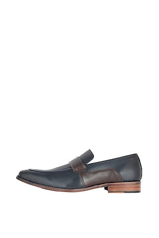 Navy Blue Hand Painted Loafers by Harper Woods