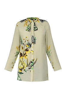 Colour Blocked Beige Floral Shirt by Hemant and Nandita