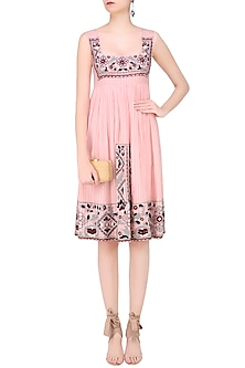 Peach Striped Carpet Embroidered Babydoll Dress by Hemant and Nandita