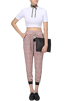 Red Rili Art Print Pants by Hemant and Nandita