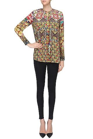 Multicolor Janpath Print Top by Hemant and Nandita