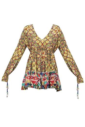 Multicolor Janpath Print Short Dress by Hemant and Nandita