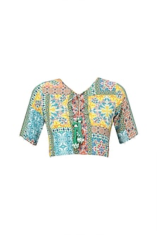 Multicolor Vintage Tile Print Top by Hemant and Nandita