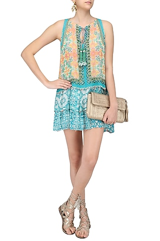 Multicolor Vintage Tile Print Short Dress by Hemant and Nandita