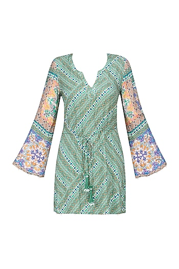 Multicolor Vintage Tile Print Flared Sleeves Dress by Hemant and Nandita