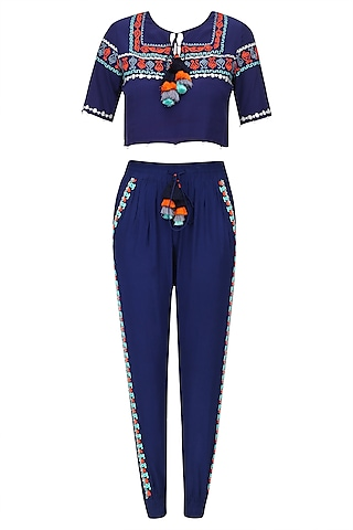Navy Blue Swirl and Spatter Top and Pants Set by Hemant and Nandita