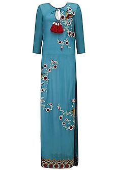 Blue Floral Embroidered Long Tunic by Hemant and Nandita
