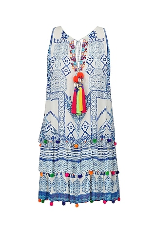 White and Blue Printed Short Sleeveless Dress by Hemant and Nandita