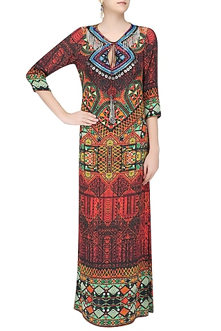 Multicolor Nomad Print Long Maxi Dress by Hemant and Nandita