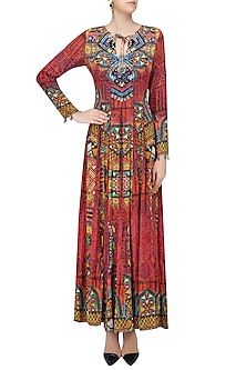 Red Nomad Print Fit and Flared Maxi Dress by Hemant and Nandita