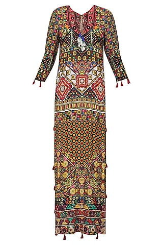 Beige Janpath Print Long Maxi Dress by Hemant and Nandita