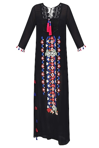 Black Aztec Embroidered Long Maxi Dress by Hemant and Nandita
