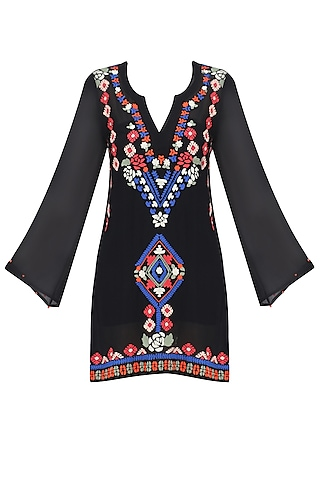 Black Aztec Embroidered Flared Sleeves Dress by Hemant and Nandita