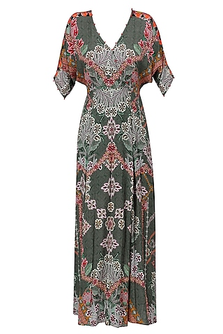 Wild Grey Floral Work Long Maxi Dress by Hemant and Nandita