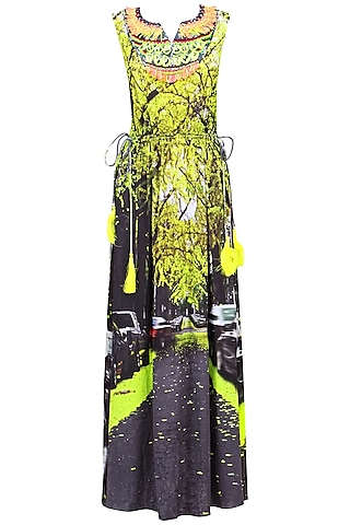 Green digital printed maxi dress by Hemant and Nandita