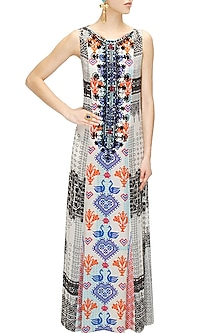 White and black cross stitch print maxi dress by Hemant and Nandita