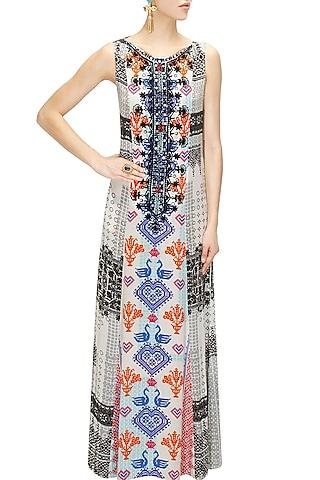 White and black cross stitch print maxi dress by Hemant and Nandita