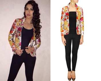 Ivory floral print jacket with roses embroidery by Bhumika sharma
