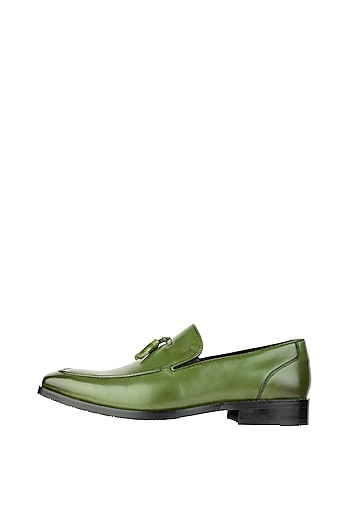 Bottle Green Hand Painted Tasseled Loafer Shoes by Harper Woods