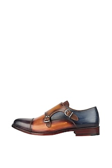 Brown Monk Strap Printed Shoes by Harper Woods