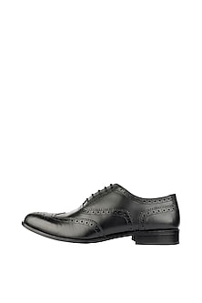 Black Printed Classic Wingtip Brogue Shoes by Harper Woods