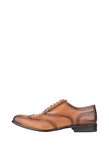 Tan Printed Classic Wingtip Brogue Shoes by Harper Woods