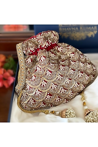 Red Hand Embroidered Potli by BHAVNA KUMAR