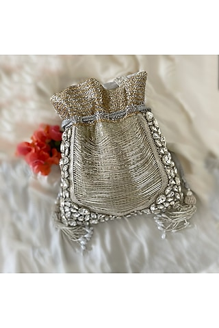 Silver Grey Hand Embroidered Potli by BHAVNA KUMAR