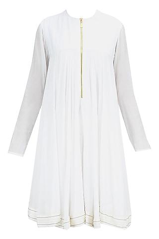 White pearl embroidered kediya short dress by Harshitaa Chatterjee Deshpande