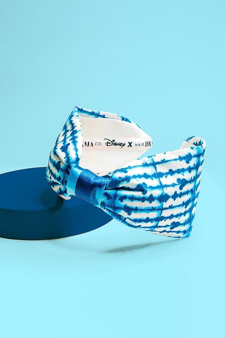 White & Blue Disney Mickey Printed Knotted Headband by Hair Drama Company